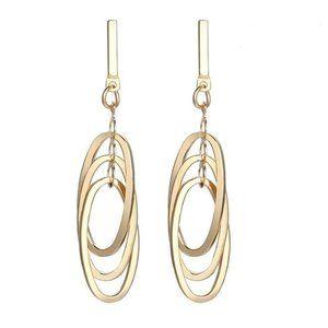 3/$20 New Gold Geometric Oval Dangle Earrings